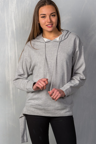 "Ladies fashion uneven hem graphic ""venice"" pullover hoodie"