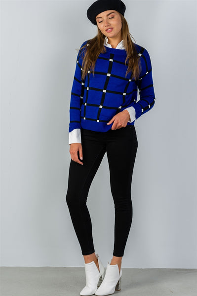 Ladies fashion pullover square print sweater