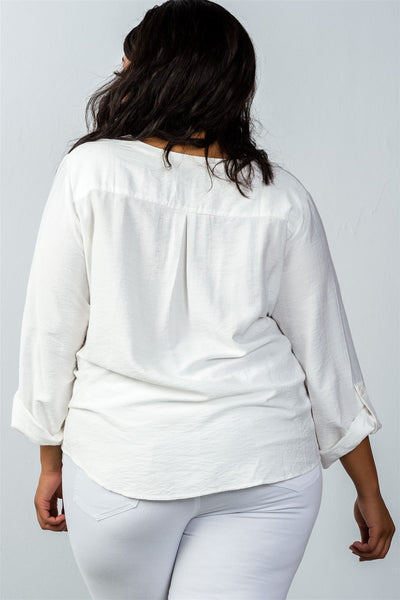 Ladies fashion plus size  oatmeal stand-up collar roll tab sleeve blouse