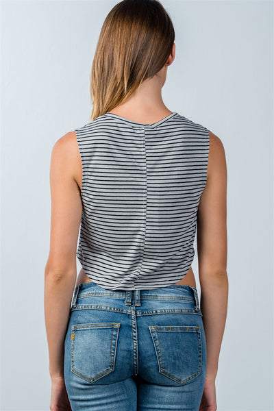 Ladies fashion grey striped curved hem cropped tank top