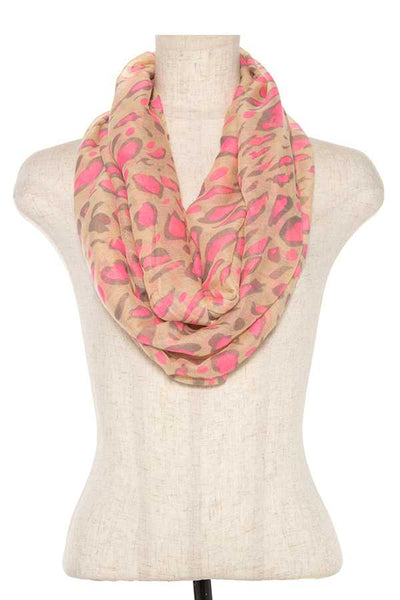Neon color animal print infnity scarf