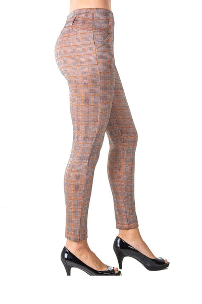 Ladies fashion casual plaid stretch trouser pants