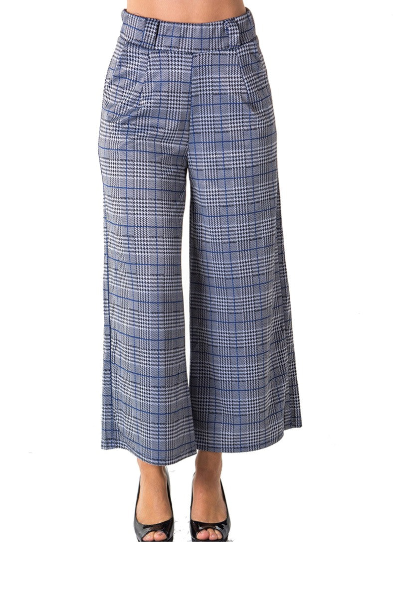 Ladies fashion casual plaid pants, high waist, wide leg & 2 front pockets