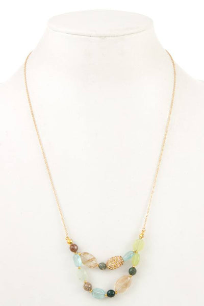 Gemstone double row long necklace
