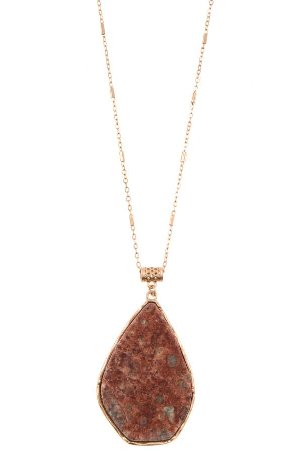 Drop framed stone pendant long necklace