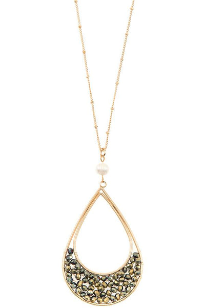 Woven bead teardrop pendant long necklace