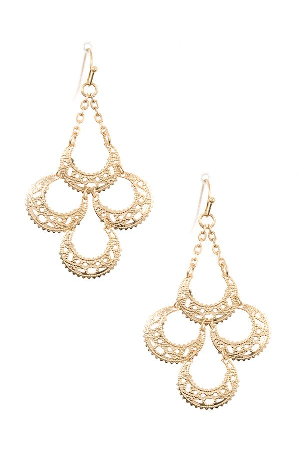 Half circle link filigree detailed dangle earring