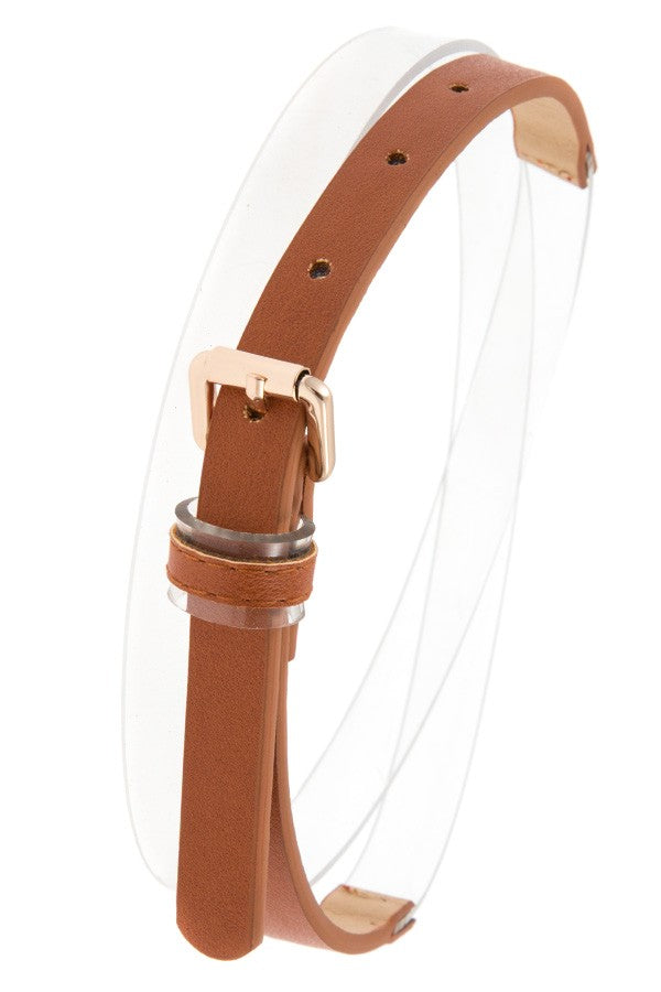 Half clear faux leather belt