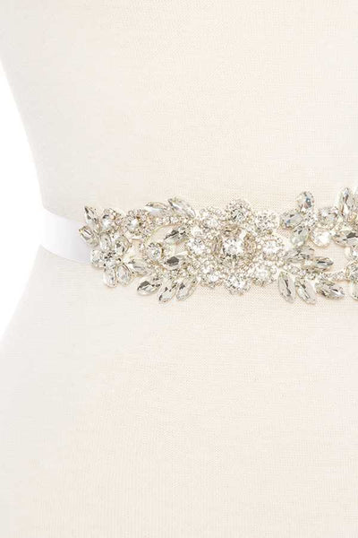 Floral crystal gem sash belt