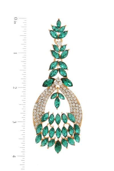 Marquise shape rhinestone post drop earring