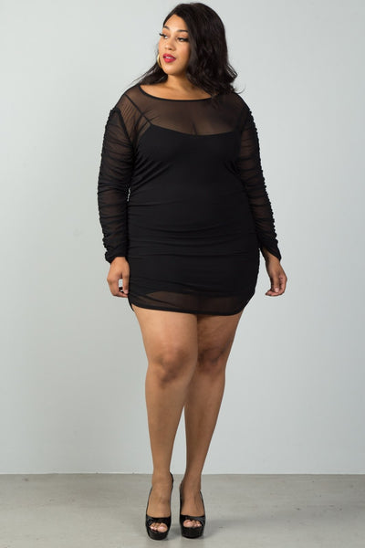 Ladies fashion plus size long sleeves sheer mesh ruched mini dress