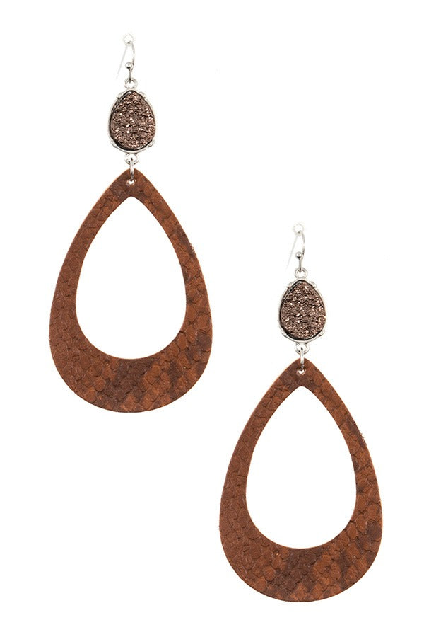 Druzy stone teardrop cut out earring
