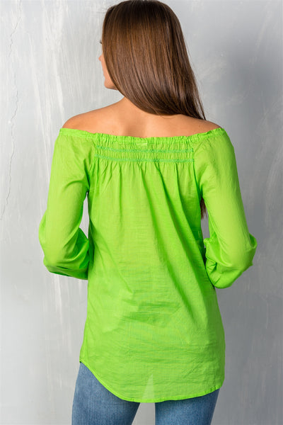Ladies fashion self tie neckline contemporary elastic off the shoulder top