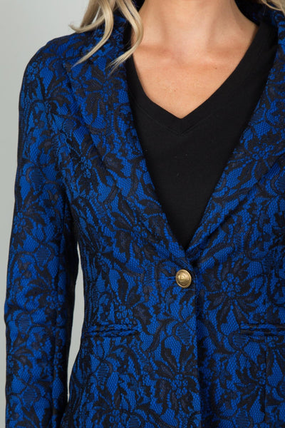 Ladies fashion navy and black lace overlay jacket