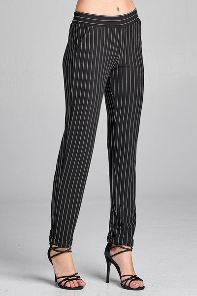 Ladies fashion waist elastic w/pocket striped knit pants