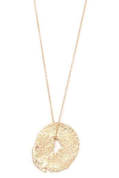 Textured organic shape pendant multi later necklace