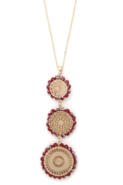 Round filigree beaded pendant long necklace