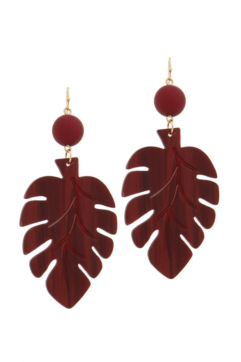 Acetate tropical leaf bead drop earring