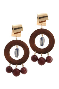 Cut out circle bead drop earring