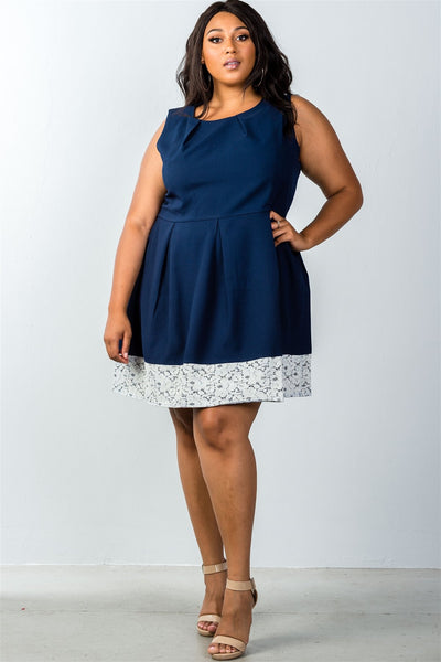 Ladies fashion plus size navy dress