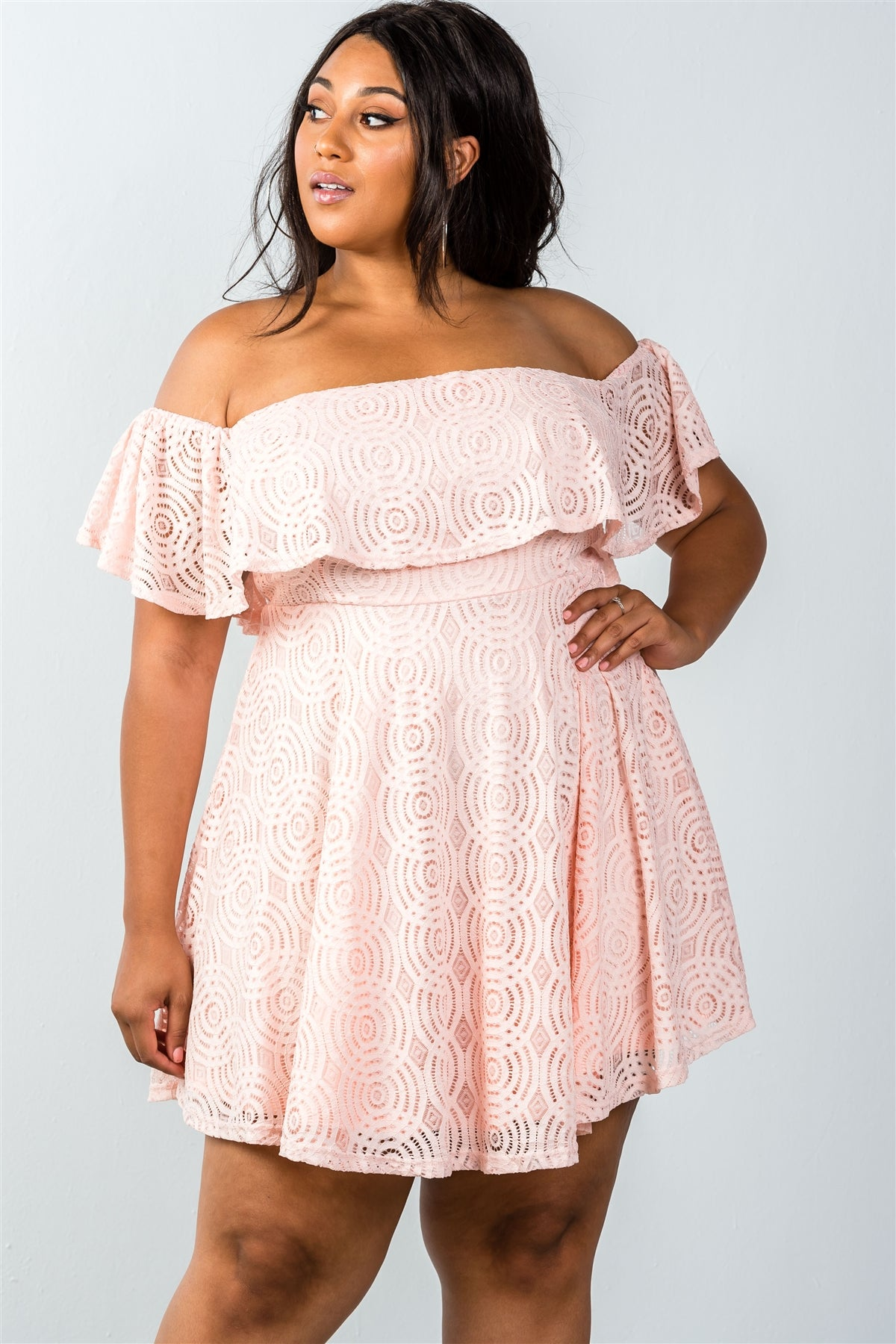 Ladies fashion plus size lace overlay off-the-shoulder flounce dress