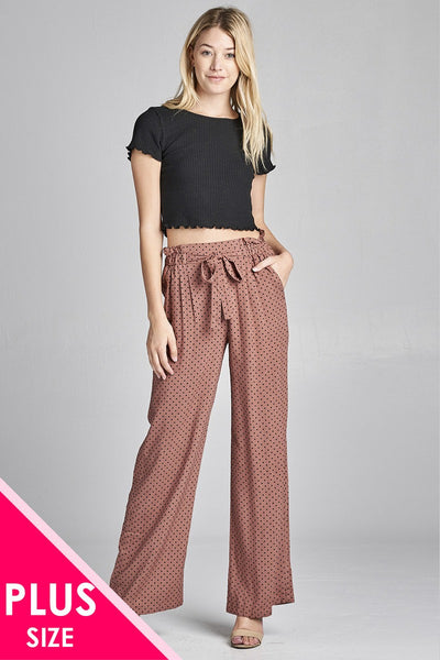 Ladies fashion plus size self ribbon detail long wide leg dot print woven pants