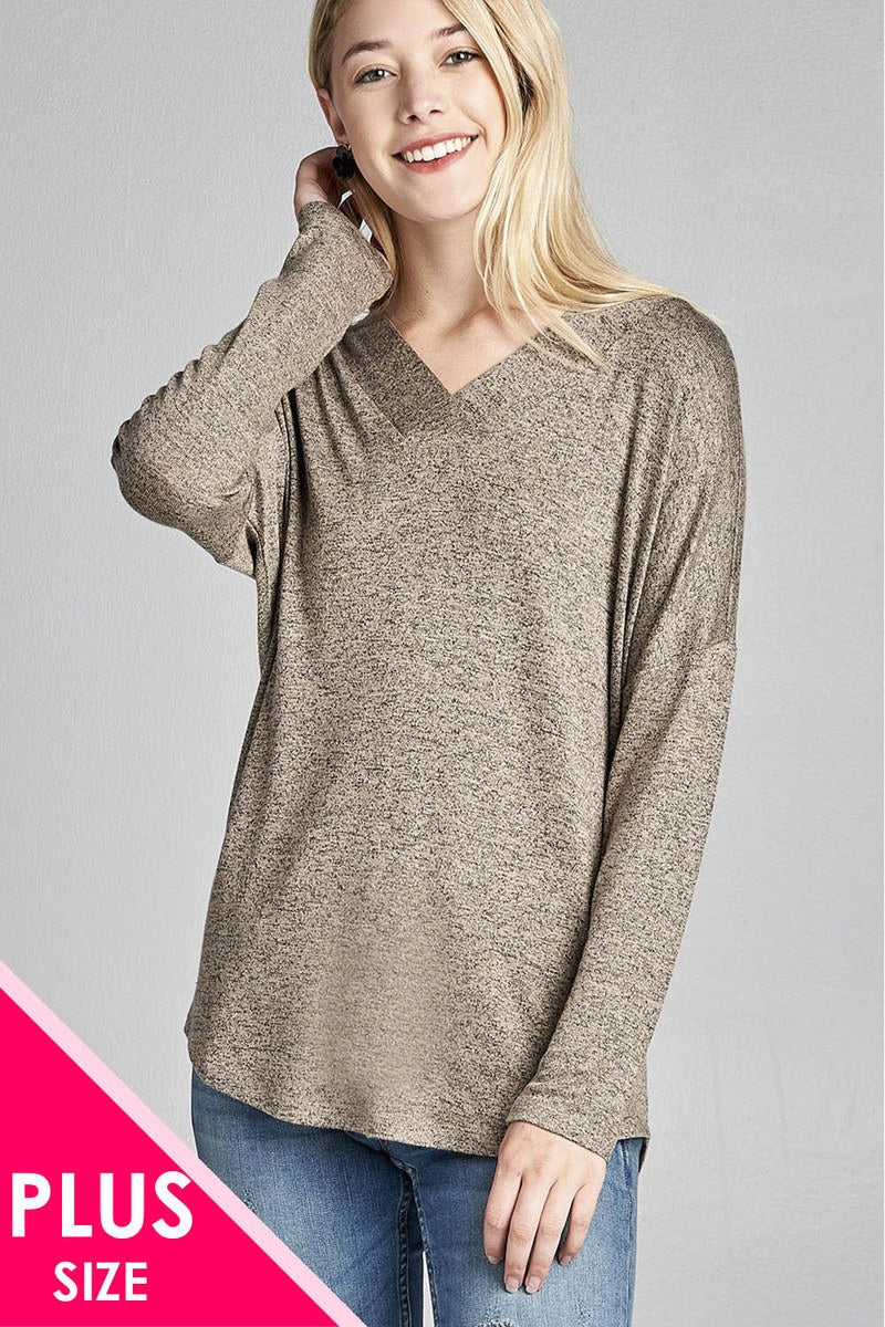 Ladies fashion plus size long sleeve v-neck two tone hacci tunic top