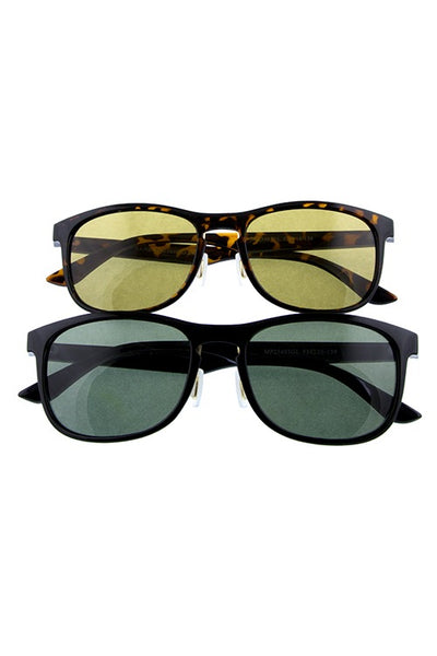 Mens simple square shaped classic glass lens sunglasses