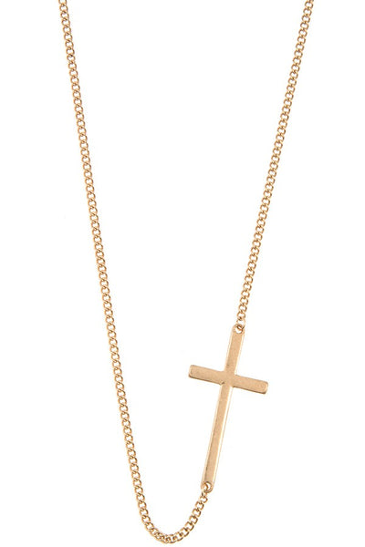 Side cross pendant short necklace