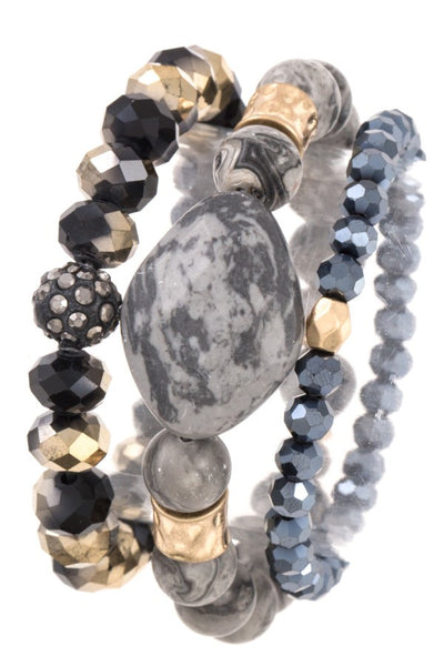 Faceted bead semi precious stone bracelet set