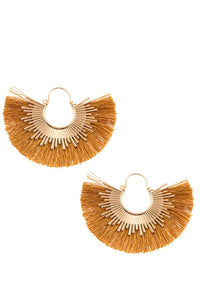Fringe fan out metal accent earring