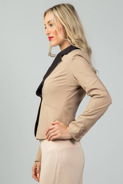 Ladies fashion khaki contrast collar open blazer