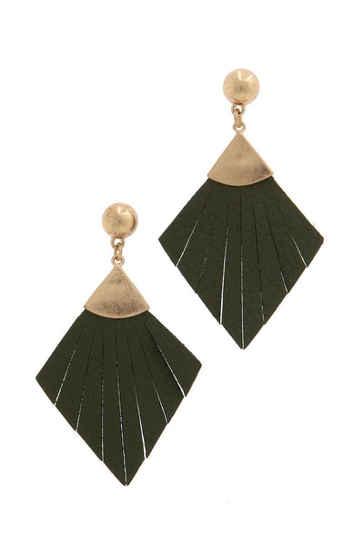 Leather rhombus shape fray post drop earring