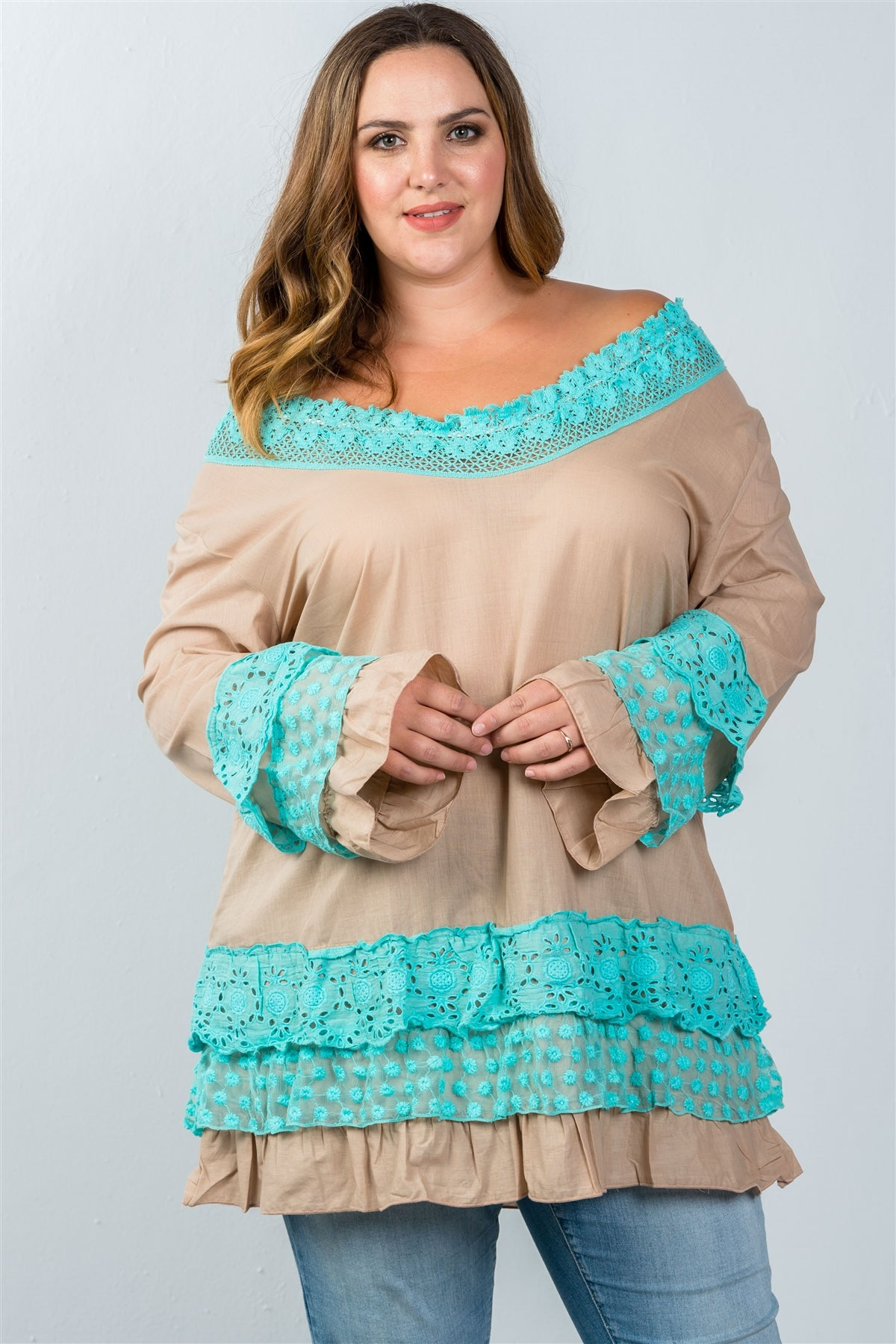 Ladies fashion plus size beige floral lace crochet tunic top