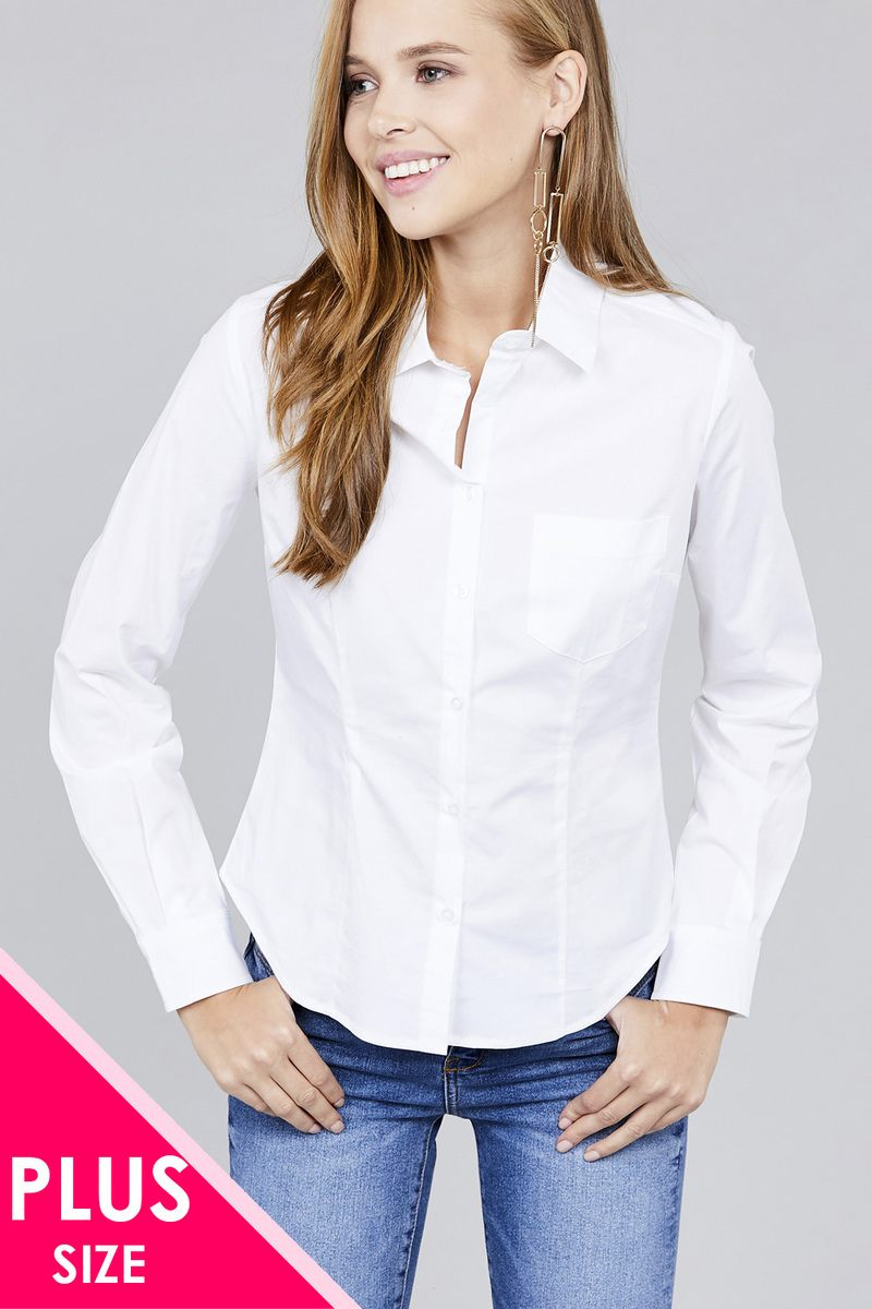 Ladies fashion plus size long sleeve button down stretch shirt