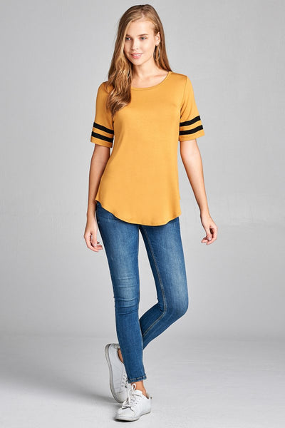 Ladies fashion plus size short double stripe sleeve round neck rayon spandex top