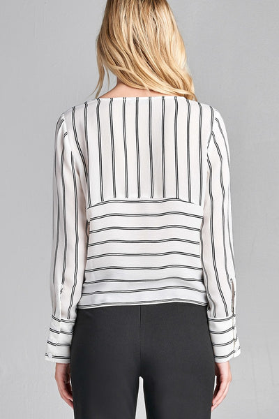 Ladies fashion plus size long sleeve round neck front self tie stripe print woven top