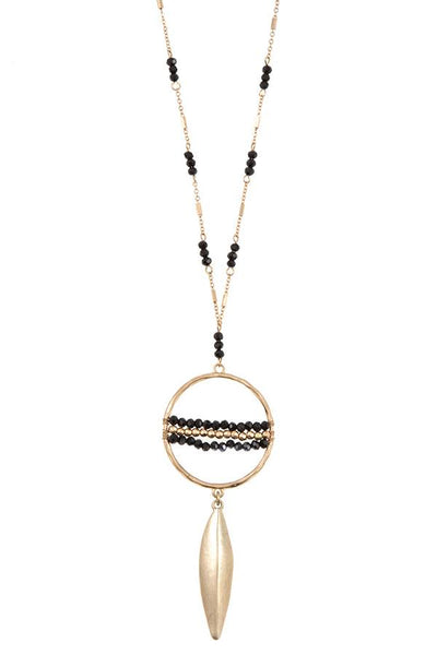 Elongated ring bead drop metal pendant necklace set