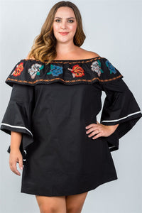 Ladies fashion plus size flounce off the shoulder dress