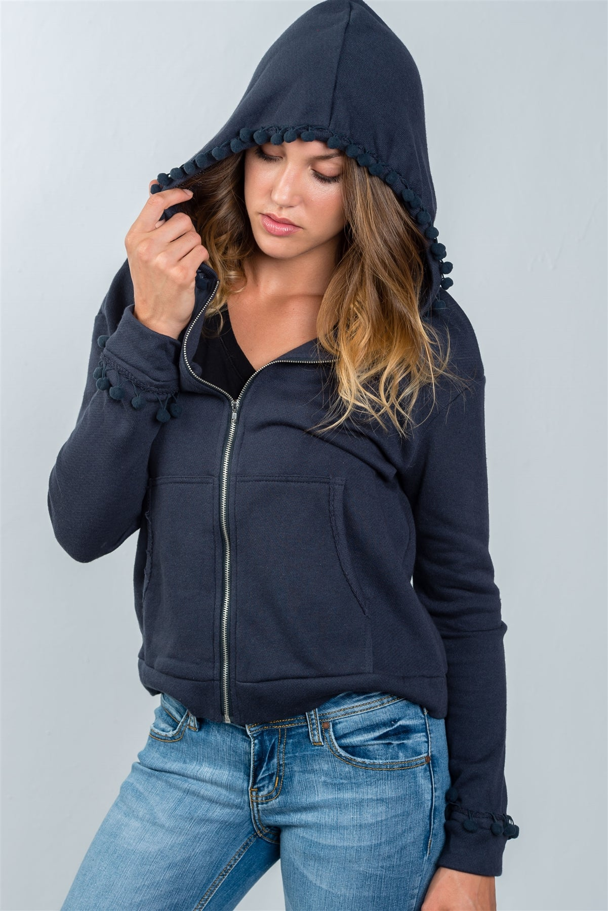 Ladies fashion navy zip up pompom sweater