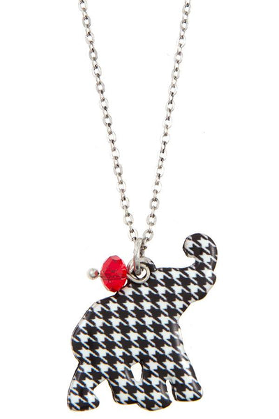 Hounds tooth elephant pendant necklace set