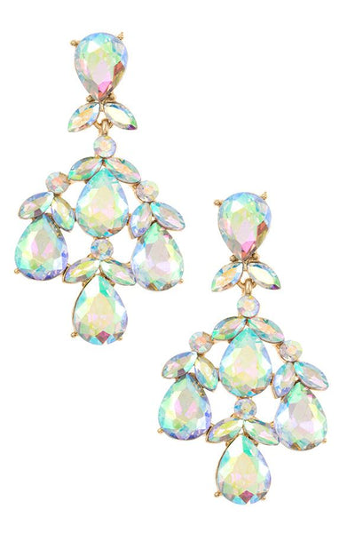 Faceted crystal gem dangle earring