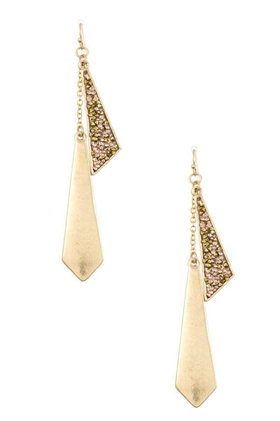 Symmetrical crystal gem pave link earring