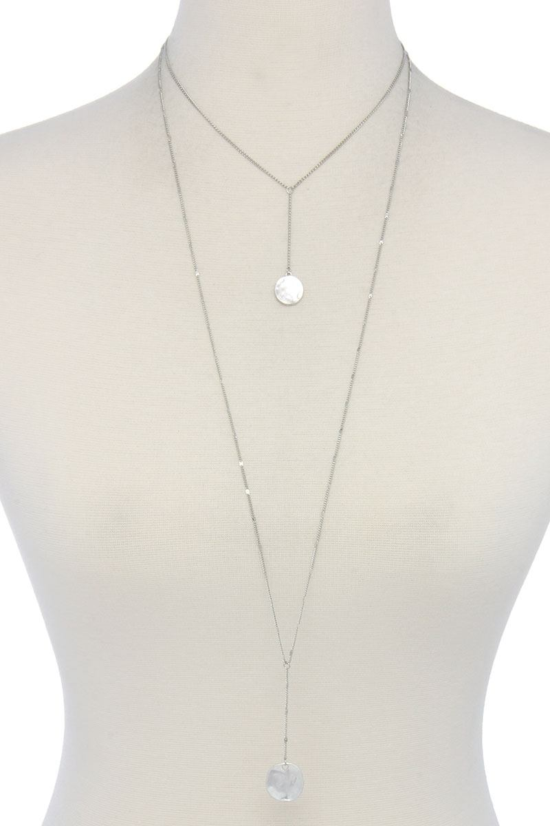 Hammered disc pendant drop layered necklace