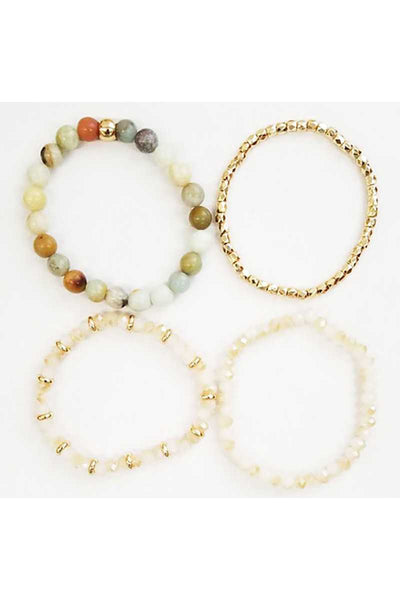 Multi natural stone beaded stretch bracelet