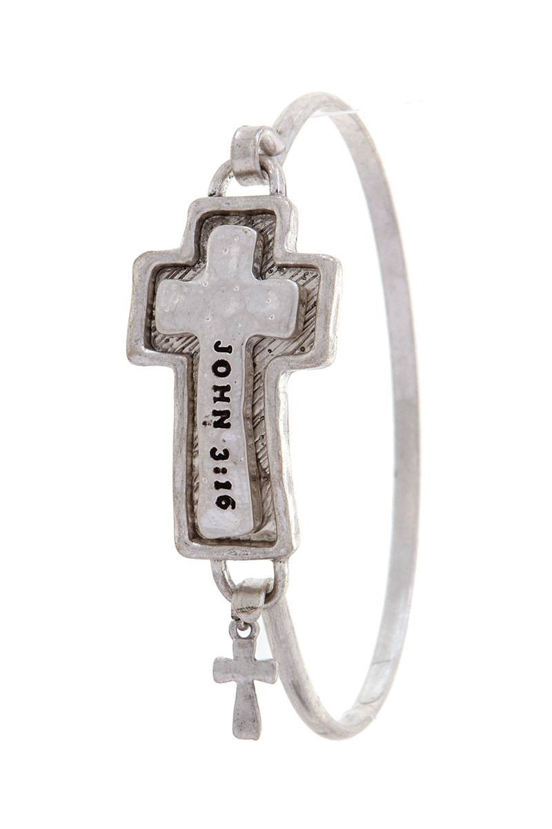 "Cross ""john 3:16"" engraved bracelet"