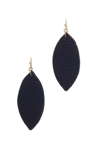 Pointed oval faux leather drop earring