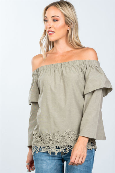 Boho off the shoulder crochet hem top