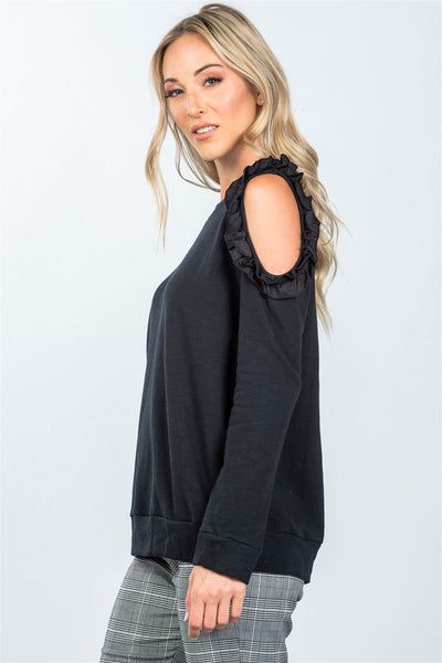 Black one side cold shoulder ruffle cutout sweater