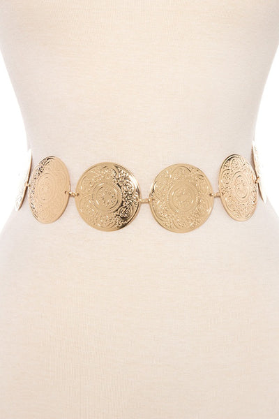 Floral metal etched link disk belt
